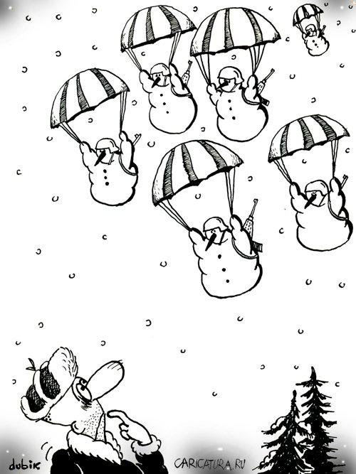карикатура снеговики